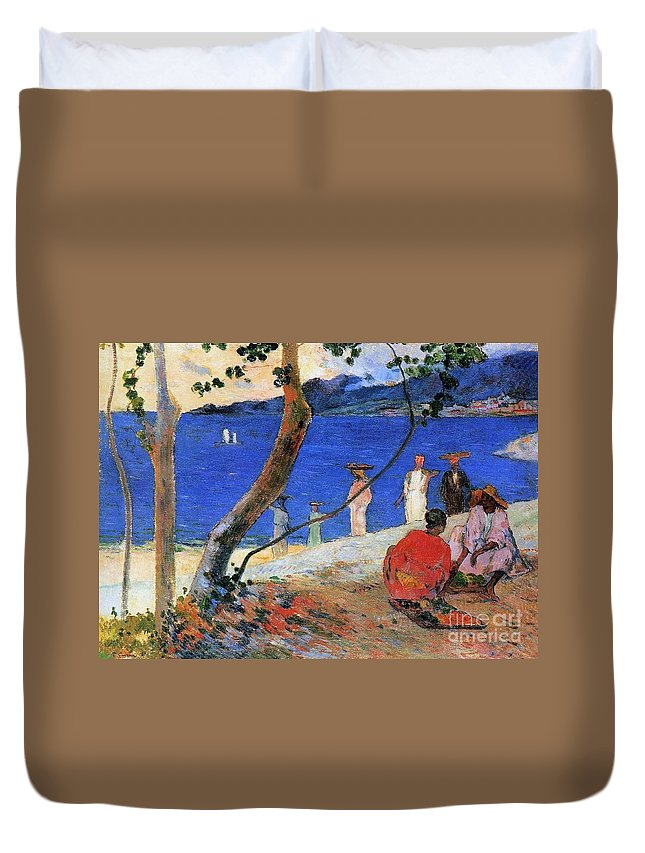 Seashore Duvet Cover featuring the painting Martinique Island by Paul Gauguin