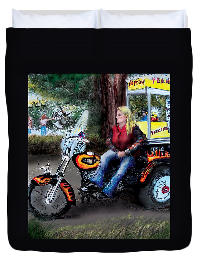 Daytons Beach Duvet Cover featuring the drawing Marty's Harley by Albert Puskaric