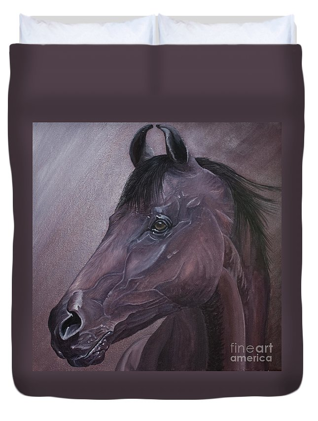 Horse Marwari Equine Purple Duvet Cover featuring the painting Marwari Purple by Pauline Sharp