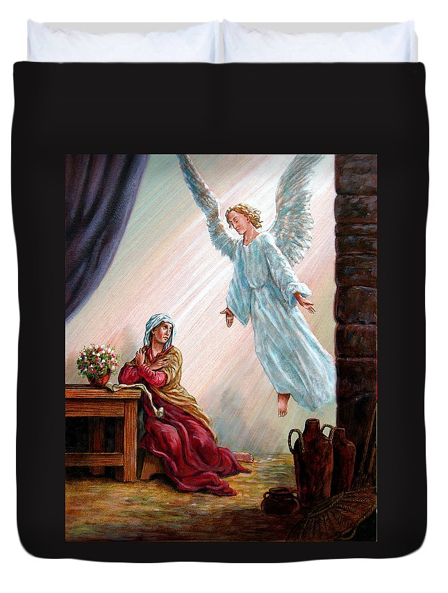 Angel Duvet Cover featuring the painting Mary And Angel by John Lautermilch