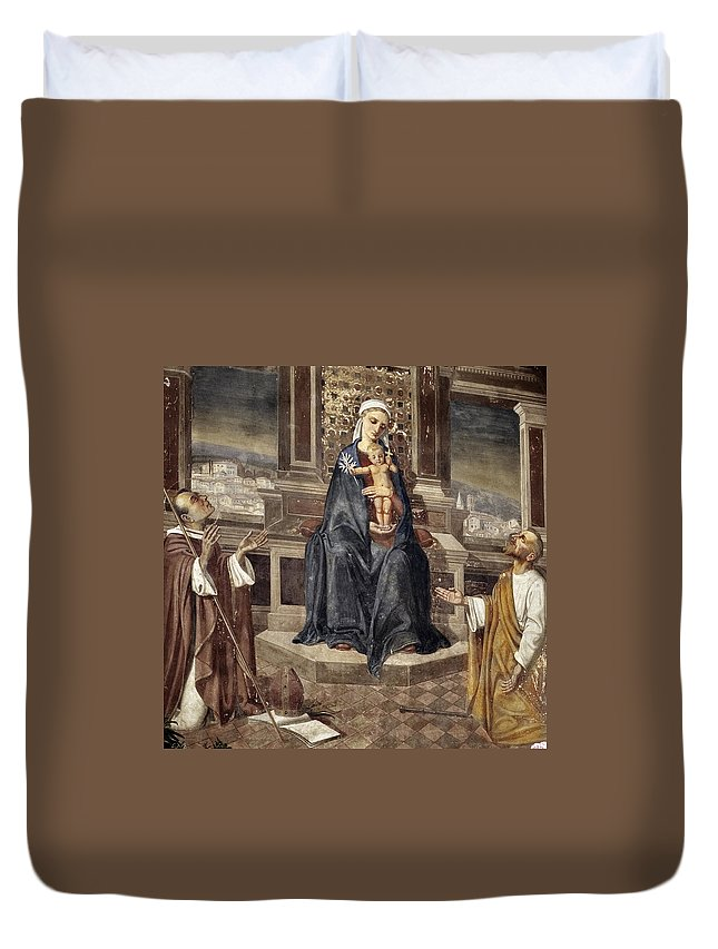 Italy Italian Mary Jesus Men Fresco Religious Religion Paint Painted Old Ancient Catholic Duvet Cover featuring the photograph Mary And Baby Jesus by Marilyn Hunt