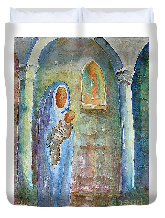 Watercolor Duvet Cover featuring the painting Mary And The Child by Marisa Gabetta