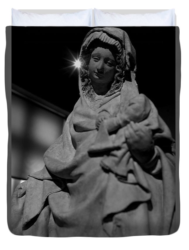 Mary Duvet Cover featuring the photograph Mary by Win Naing