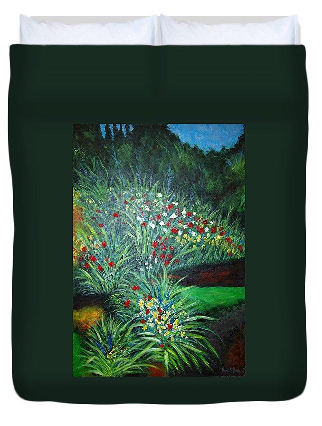 Landscape Duvet Cover featuring the painting Maryann's Garden 3 by Nancy Mueller