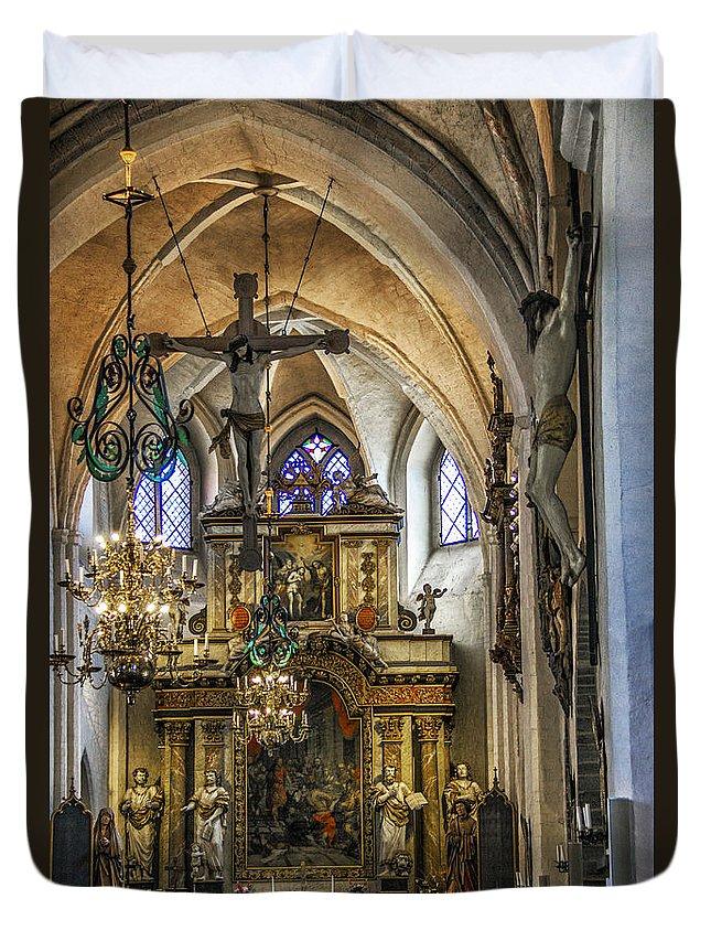Sta Mariakyrkan Duvet Cover featuring the photograph Mary's Church by Roberta Bragan