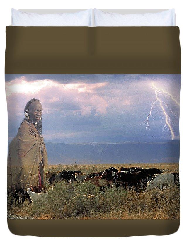 Cattle Duvet Cover featuring the photograph Masaii Cattle by Don Schimmel