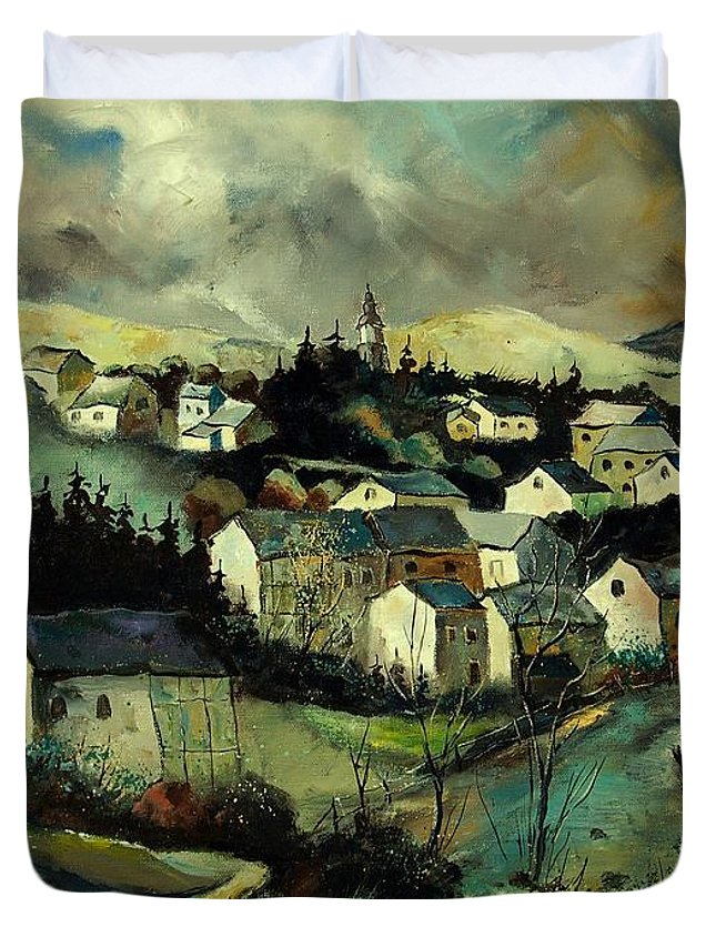 Winter Duvet Cover featuring the painting Masbourg by Pol Ledent