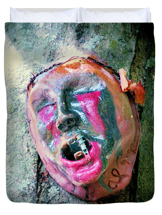 Mask Attached To Trunk Duvet Cover featuring the painting Mask Attached To Trunk 1 by Jeelan Clark