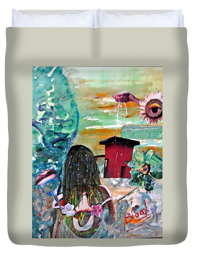 Water Duvet Cover featuring the painting Masks Of Life by Peggy Blood