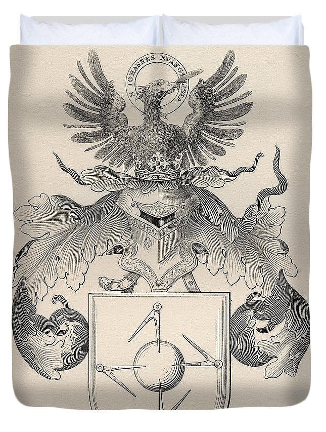 Mason Duvet Cover featuring the drawing Masonic Seal by English School