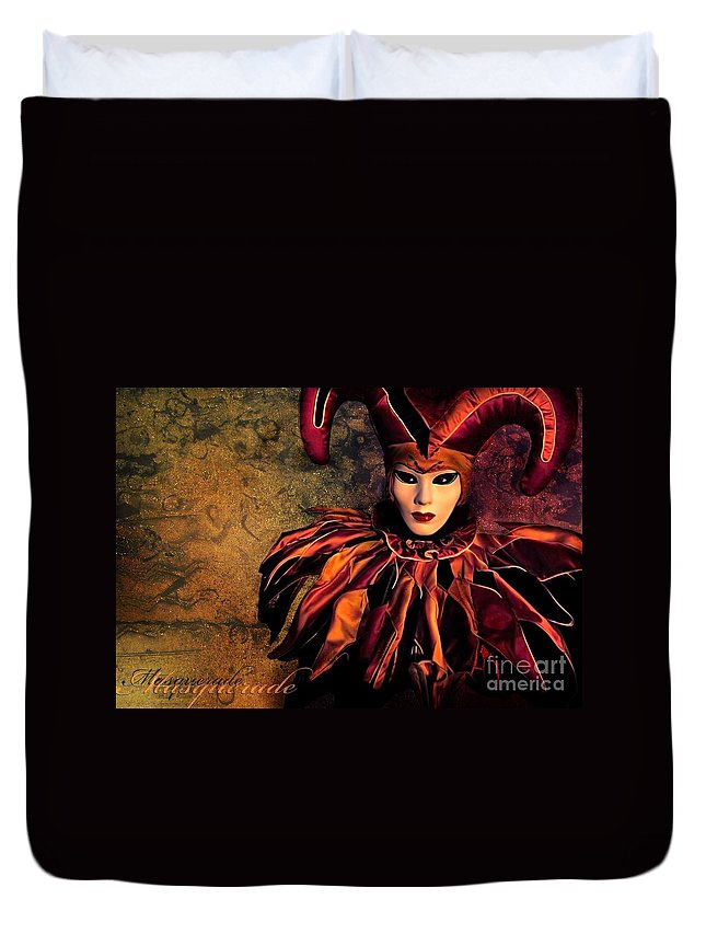 Mask Duvet Cover featuring the photograph Masquerade by Jacky Gerritsen