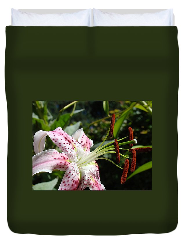 Lilies Duvet Cover featuring the photograph Master Gardeners Art Floral Pink Lily Flower Baslee Troutman by Baslee Troutman