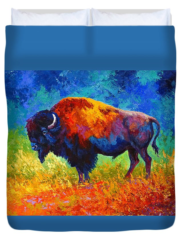 Wildlife Duvet Cover featuring the painting Master Of His Herd by Marion Rose