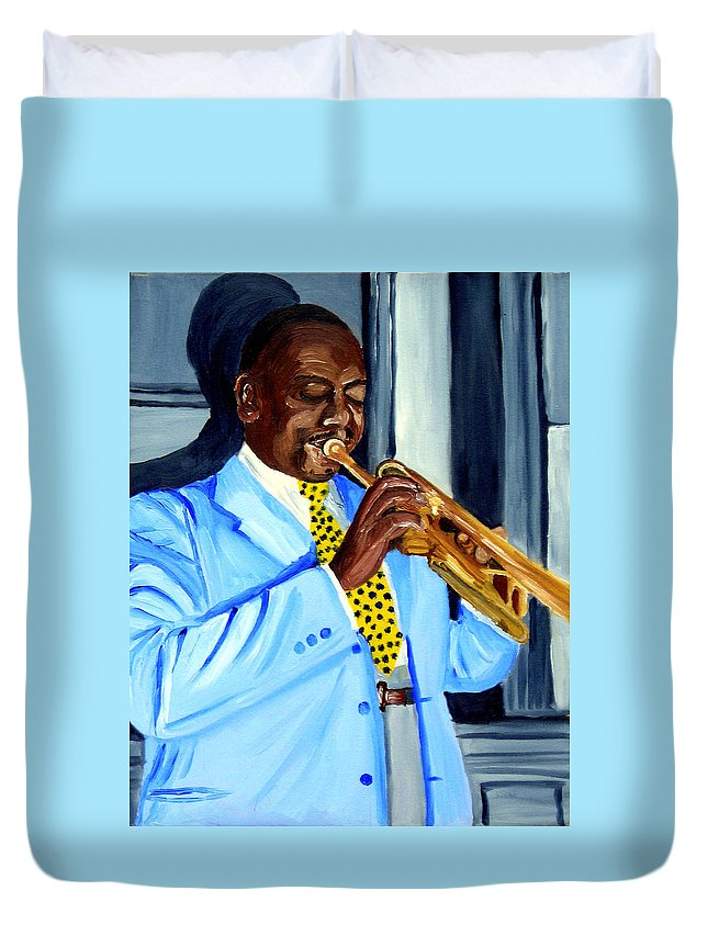 Street Musician Duvet Cover featuring the painting Master Of Jazz by Michael Lee