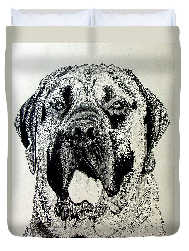 Mastiff Duvet Cover featuring the drawing Mastiff by Stan Hamilton