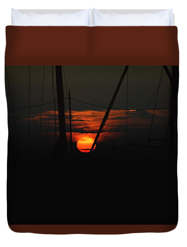 Backlit Duvet Cover featuring the photograph Masts by Pete Federico