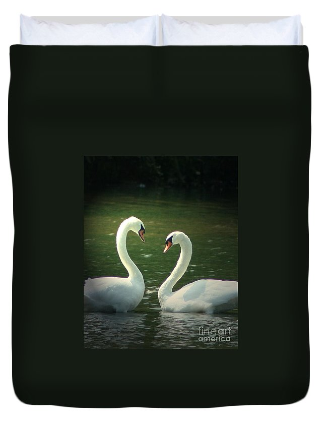Nature Wildlife Ohio Waterscape Landscape Swans Lake Pond Duvet Cover featuring the photograph Mates For Life by Dawn Downour