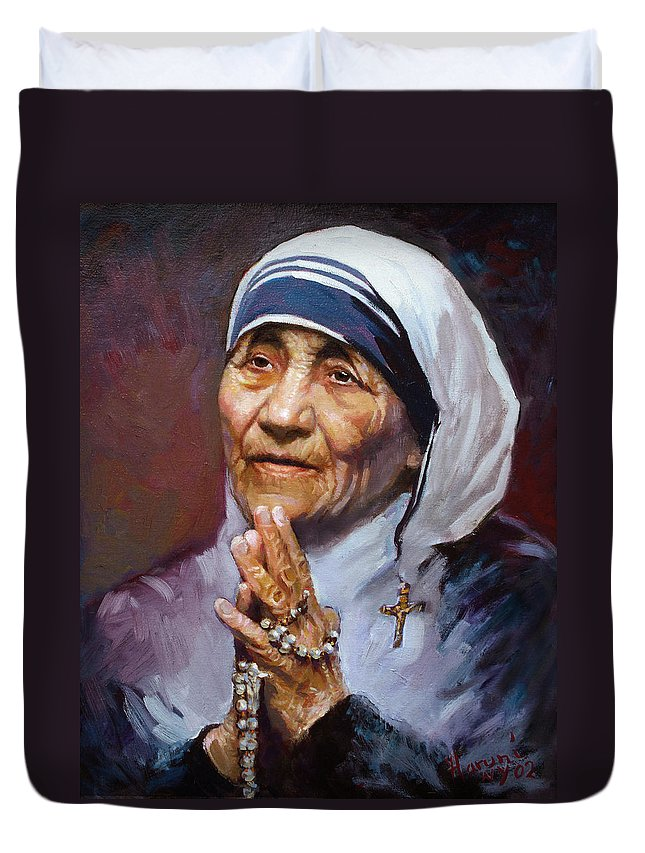 Mother Teresa Artwork Duvet Cover featuring the painting Mother Teresa by Ylli Haruni