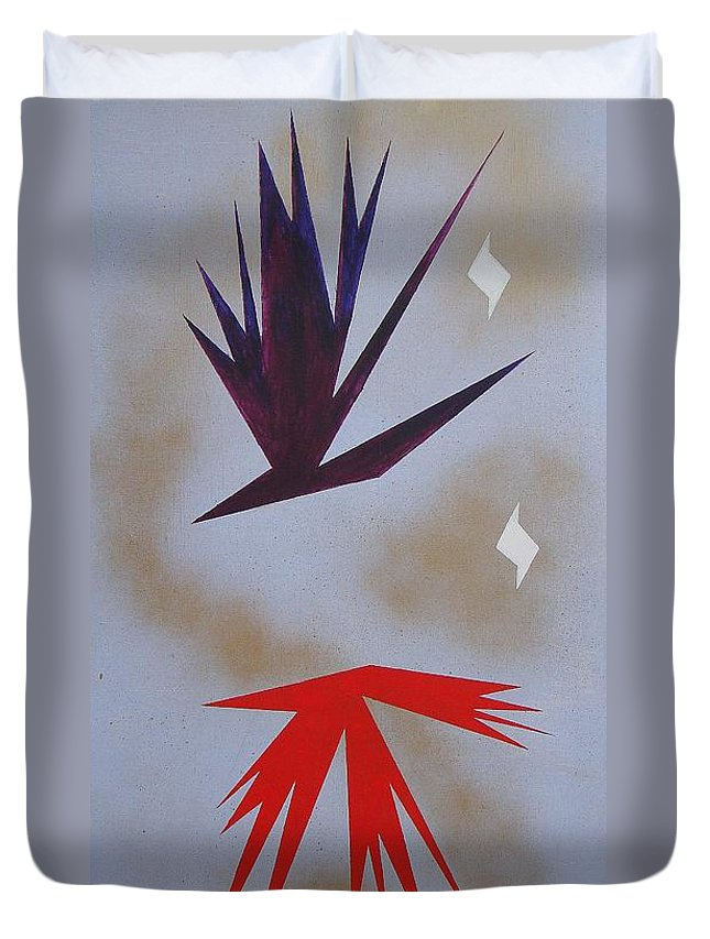 Birds Duvet Cover featuring the painting Mating Ritual by J R Seymour