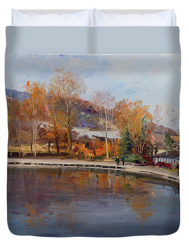 Art Duvet Cover featuring the painting Matka, Skopje 2014 by Sefedin Stafa