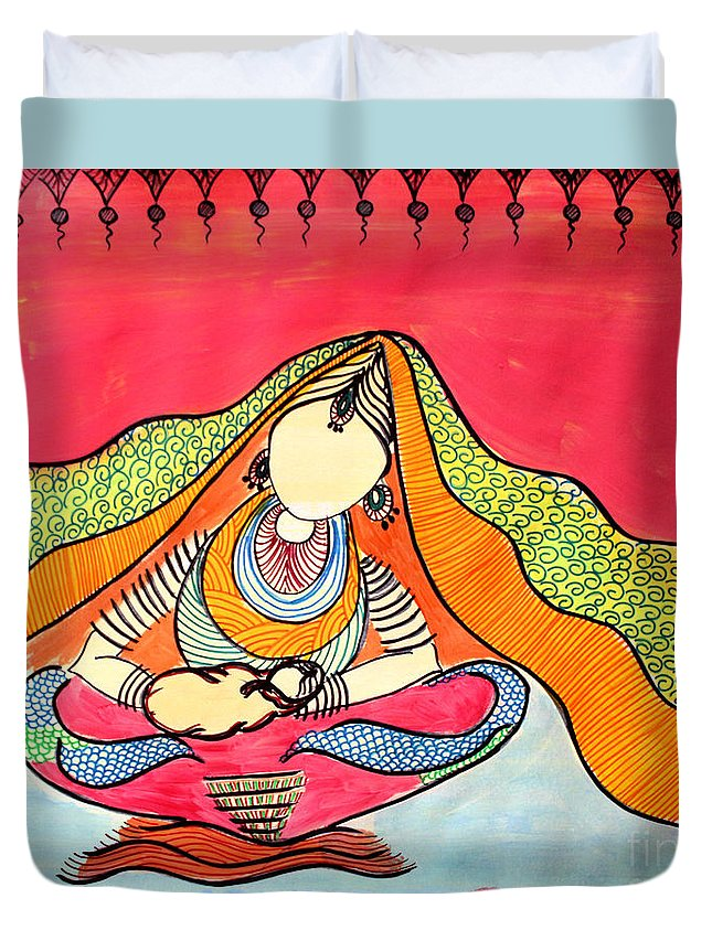 Mother Duvet Cover featuring the painting Matritwa - 8 by Shachi Srivastava