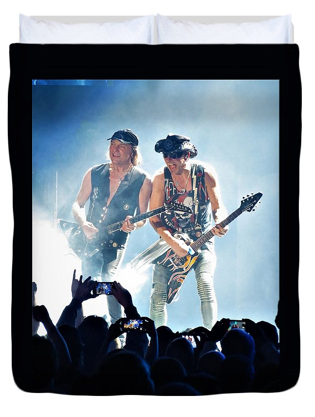 Rudolph Rudolf Schenker Scorpions Matthias Jabs Guitar Solo 2017 Crazy World Tour Duvet Cover featuring the photograph Matthias Jabs And Rudolf Schenker Shredding by Daniel Mazzei