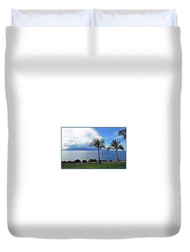 Beach Duvet Cover featuring the digital art Maui Clouds by Joan Minchak