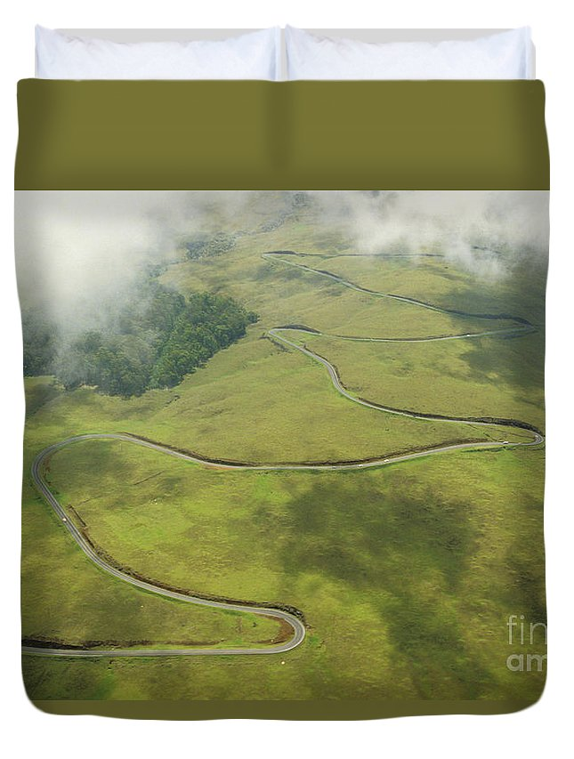 Above Duvet Cover featuring the photograph Maui Haleakala Crater by Ray Mains - Printscapes