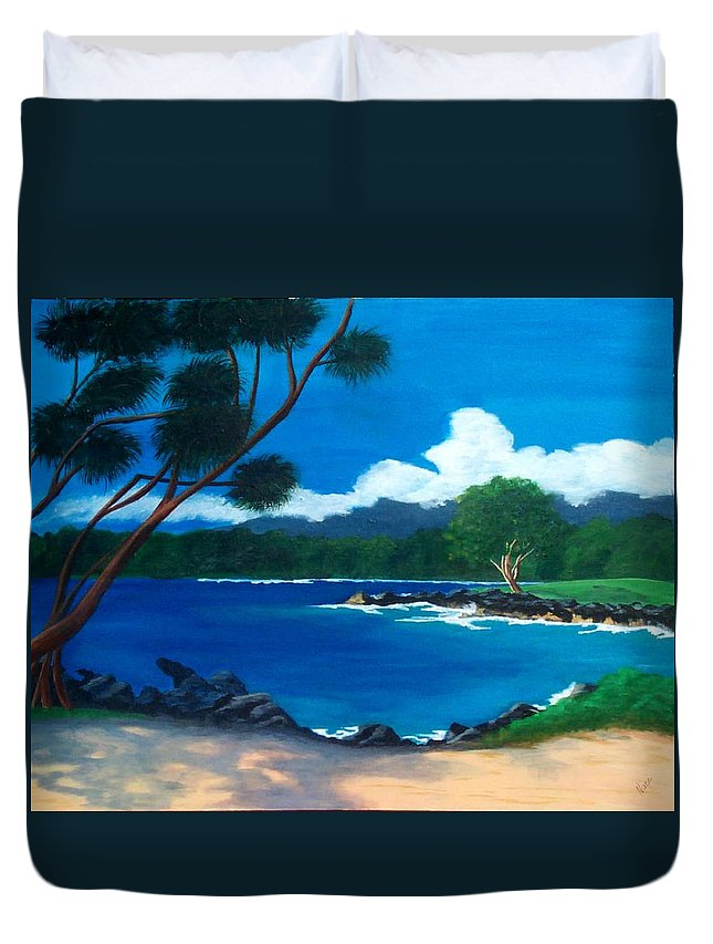 Inlet Duvet Cover featuring the painting Maui Inlet by Nancy Nuce