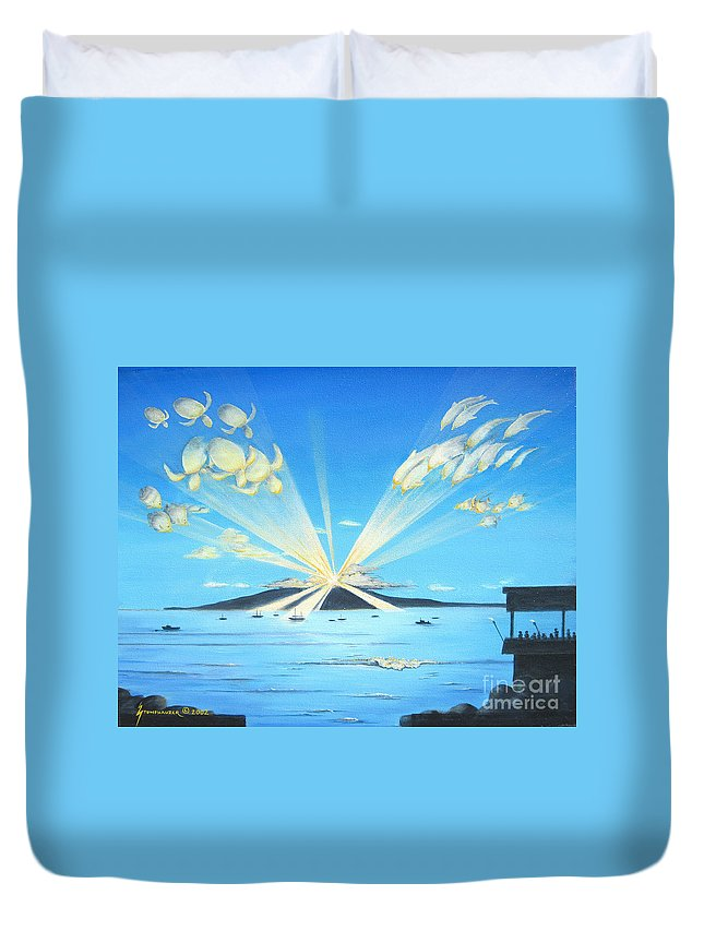 Maui Duvet Cover featuring the painting Maui Magic by Jerome Stumphauzer