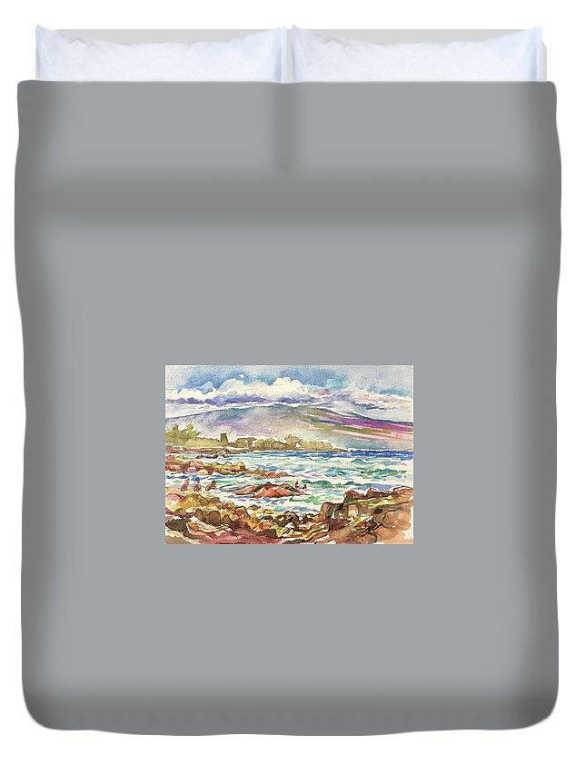 Mauna Loa Duvet Cover featuring the painting Mauna Loa by Abbie Rabinowitz