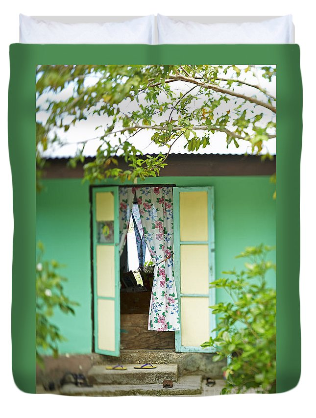 Architecture Duvet Cover featuring the photograph Maupiti Doorway by Kyle Rothenborg - Printscapes
