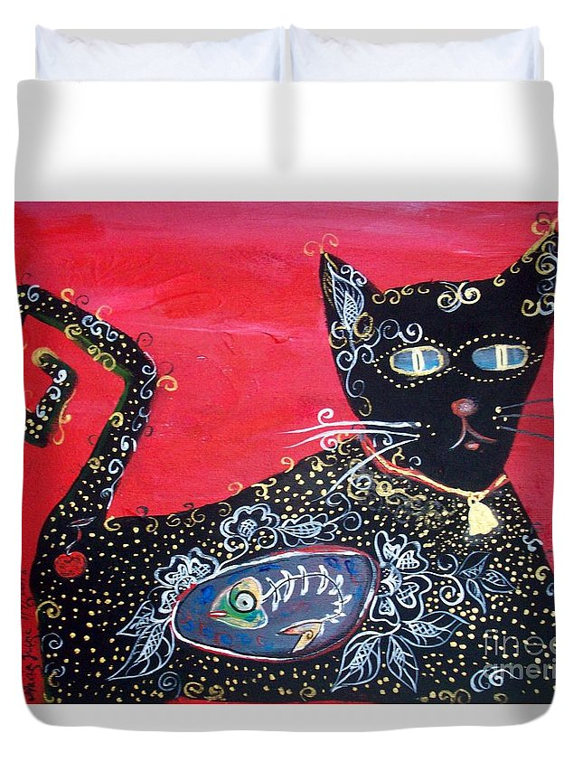 Cat Duvet Cover featuring the painting Max by Mrs Wilkes Art