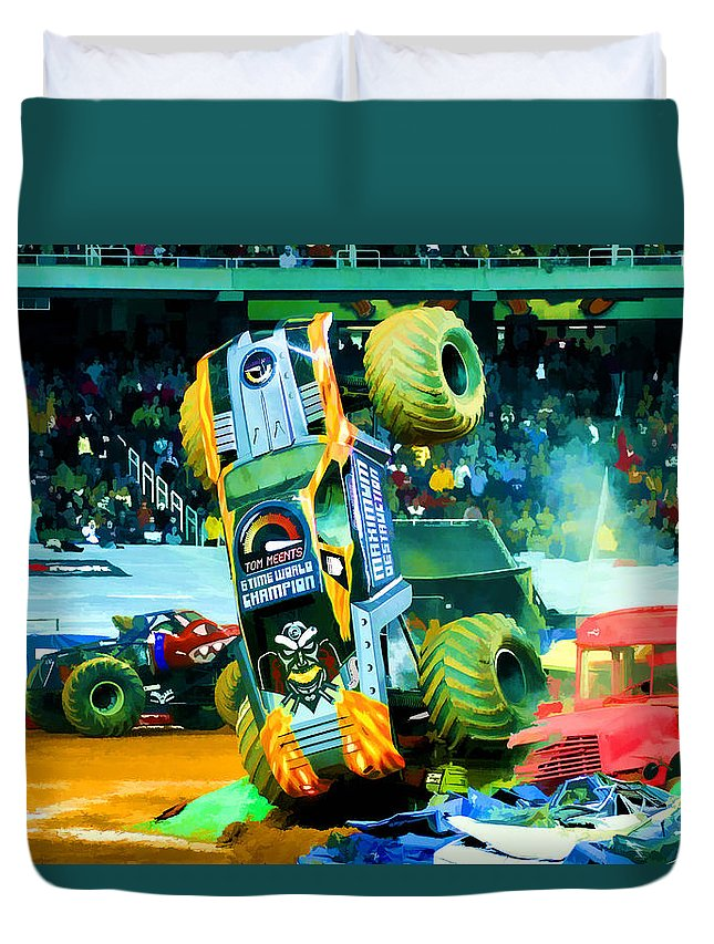 Maximum Destruction Freestyle Duvet Cover featuring the painting Maximum Destruction Freestyle by Jeelan Clark