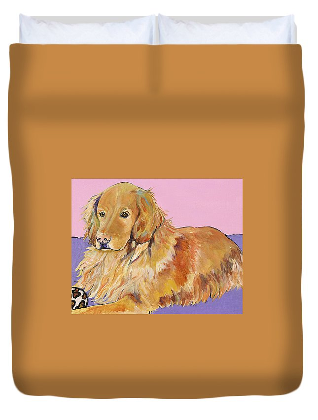 Golden Retriever Duvet Cover featuring the painting Maya by Pat Saunders-White