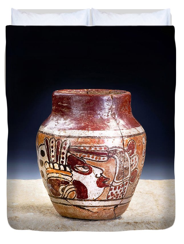 Archaeological Duvet Cover featuring the photograph Mayan Pre Columbian Warrior Vase. by W Scott McGill