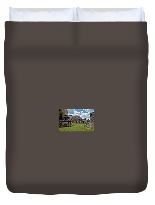 Mayan Duvet Cover featuring the photograph Mayan Ruins 3 by Michael Peychich