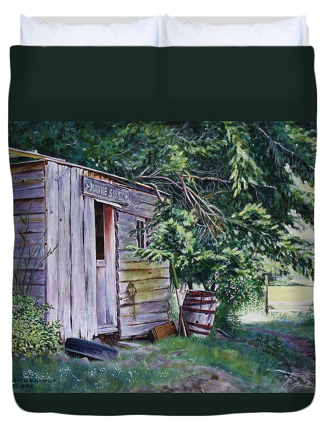 Landscape Duvet Cover featuring the painting Mayne Island Sawmill by Elaine Booth-Kallweit