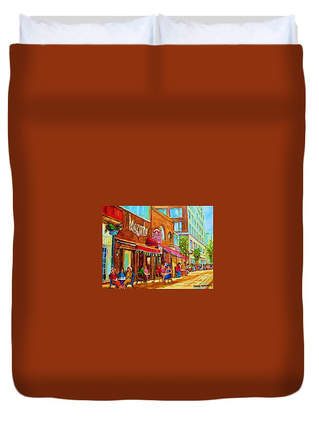 Montreal Streetscene Duvet Cover featuring the painting Mazurka Cafe by Carole Spandau