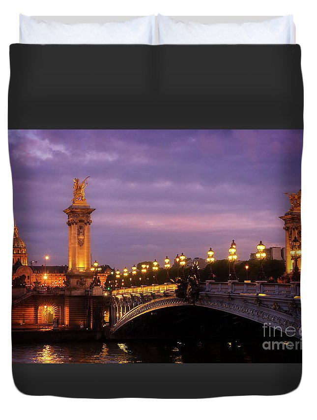 Alexander Duvet Cover featuring the photograph Bridge Of Alexandre IIi At Night by Anastasy Yarmolovich