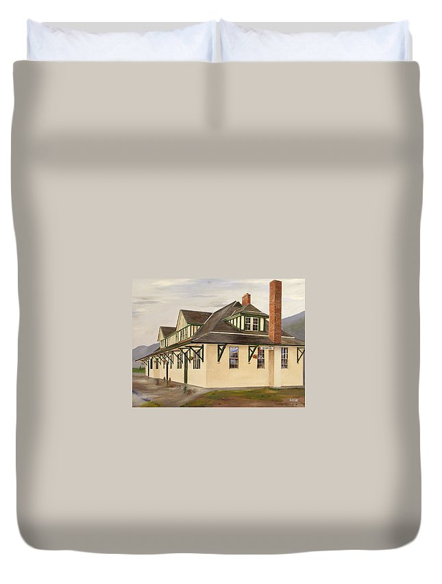 Train Station Duvet Cover featuring the painting Mcbride Station by Glen Frear