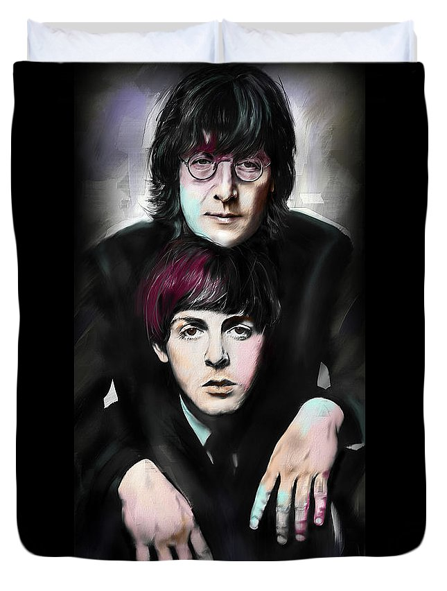 The Beatles Duvet Cover featuring the painting McCartney and Lennon by Melanie D