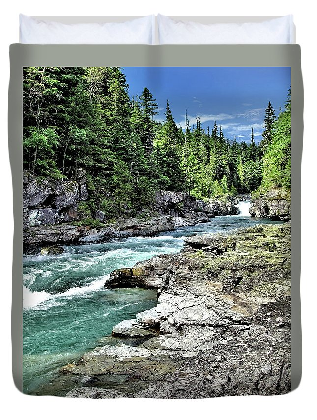 Water Duvet Cover featuring the photograph Mcdonald Creek 2 by John Trommer