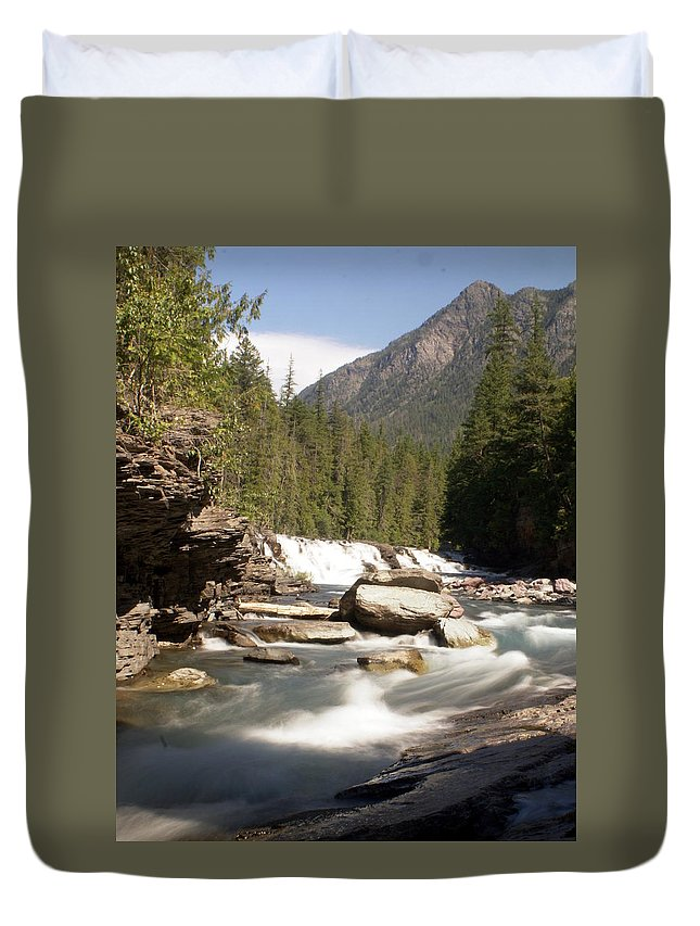Stream Duvet Cover featuring the photograph Mcdonald Creek by Marty Koch