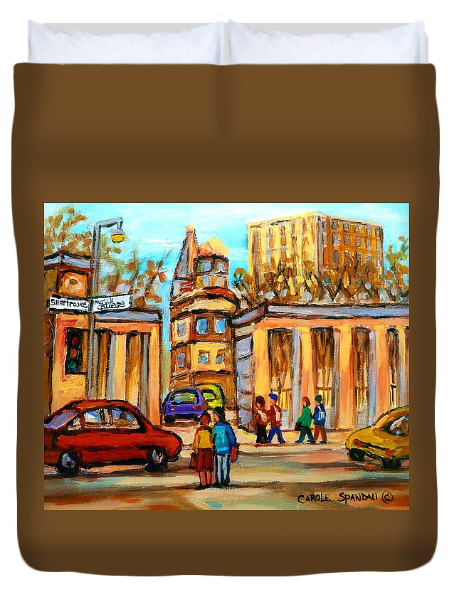Montreal Cityscapes Duvet Cover featuring the painting Mcgill Roddick Gates by Carole Spandau