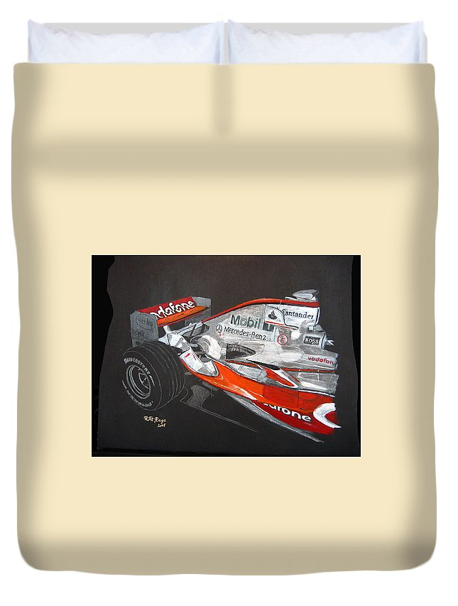 Mclaren Duvet Cover featuring the painting Mclaren F1 Alonso by Richard Le Page