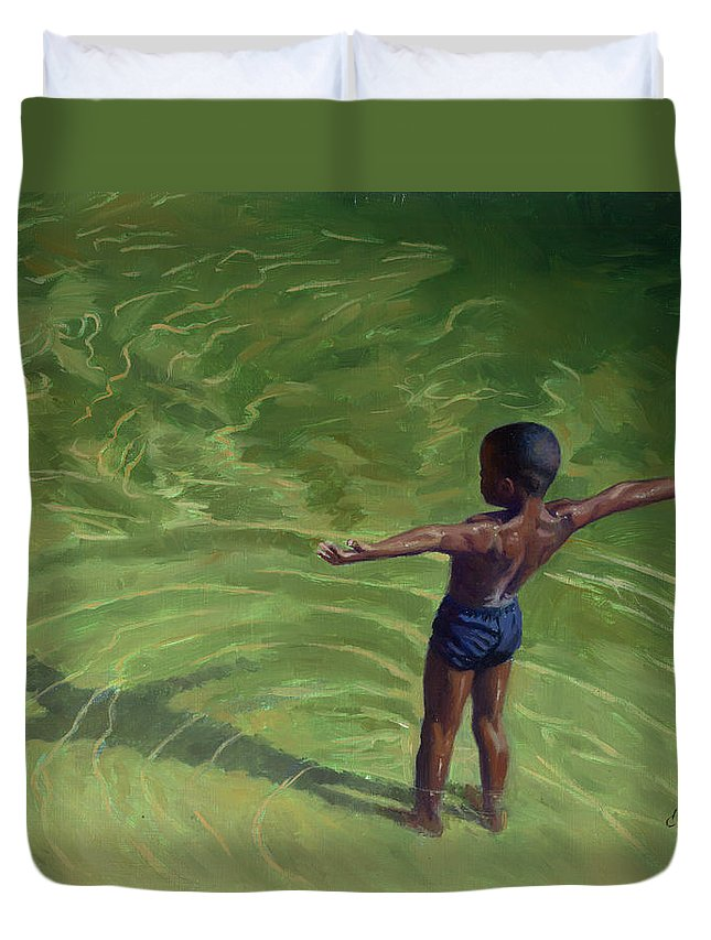 Child Duvet Cover featuring the painting Me by Colin Bootman