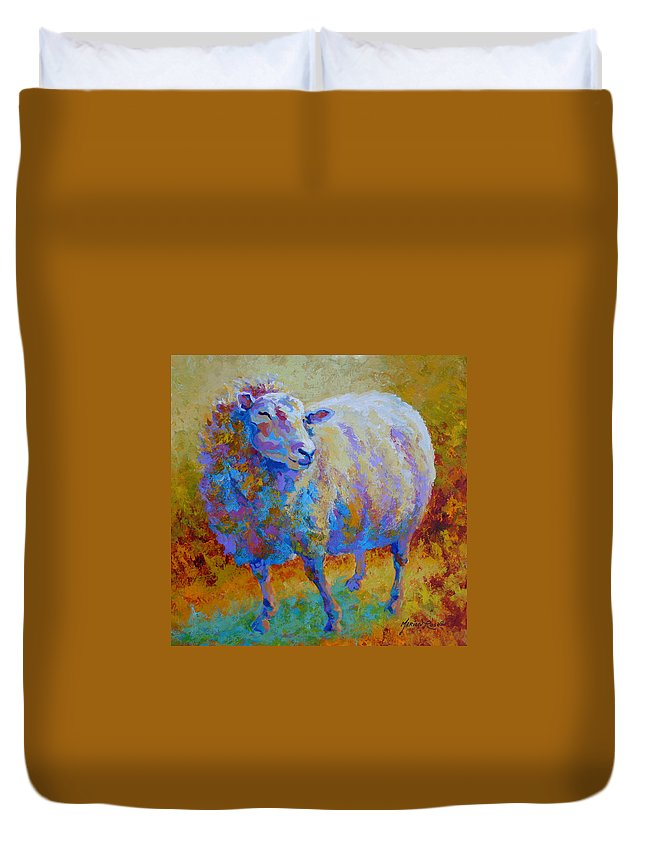 Llama Duvet Cover featuring the painting Me Me Me by Marion Rose