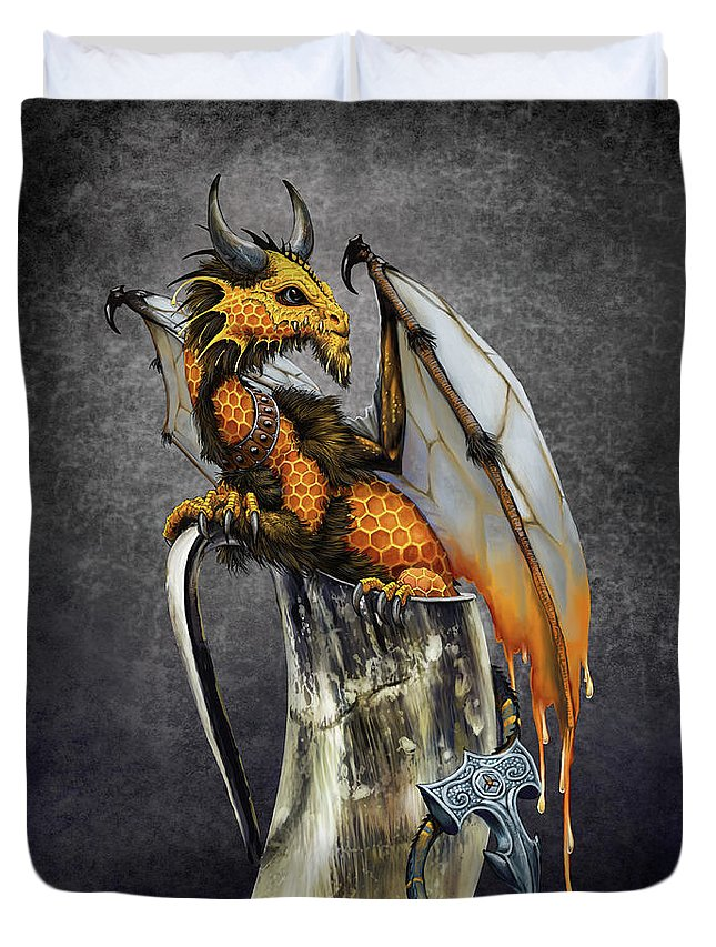 Mead Duvet Cover featuring the digital art Mead Dragon by Stanley Morrison
