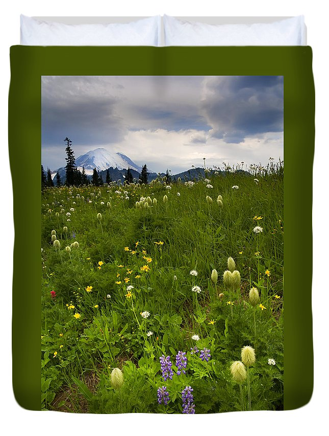 Rainier Duvet Cover featuring the photograph Meadow Beneath The Storm by Mike Dawson